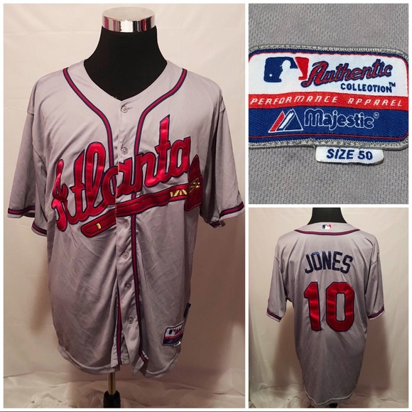 best website 77eea 6fa7e Majestic Mens Atlanta Braves Chipper Jones Jersey